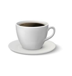 Realistic coffee cup espresso 3d mockup white vector