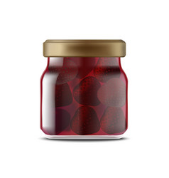 realistic detailed 3d strawberry jam glass jar vector image