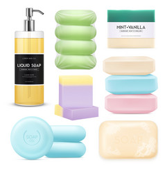 Realistic soap set vector