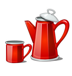 Red enamel teapot and mug isolated on white vector