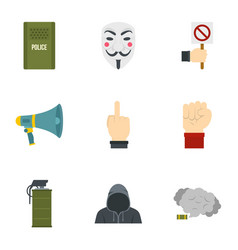 Revolt protest icon set flat style vector
