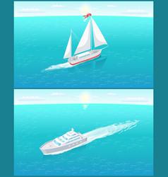 Sail boat white canvas sailing and passenger liner vector