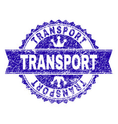 Scratched textured transport stamp seal with vector
