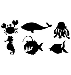 Sea creatures in black colors vector image