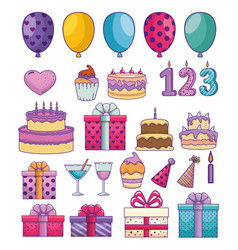 set happy birthday decoration to celebrate event vector image