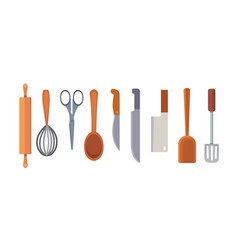 set kitchen utensils cooking tools flat vector image vector image