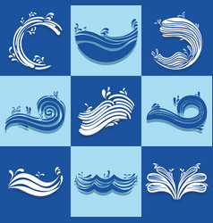Set ocean waves with differes shapes design vector