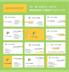 set of 12 leaf creative busienss card template vector image