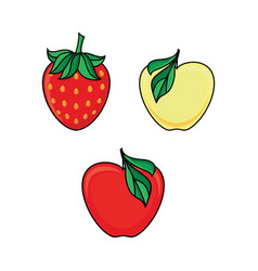 Set of apple fruit and ripe strawberry berry icons vector