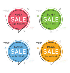 set of flat circle speech bubble shaped banners vector image