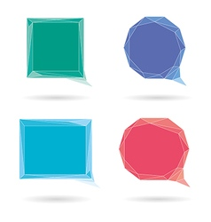 Set of low poly geometric speech bubble vector image