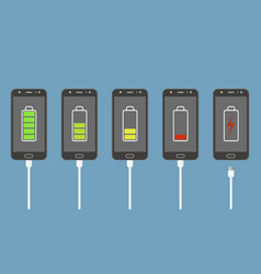 set smartphones with battery charge level vector image