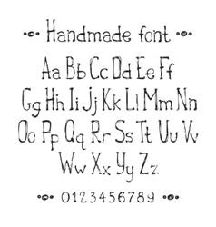 Simple monochrome hand drawn font Complete abc vector image