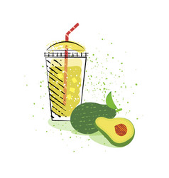 Smoothie or avocado cocktail in glass vector