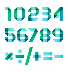 Spectral letters folded of paper - arabic numerals vector