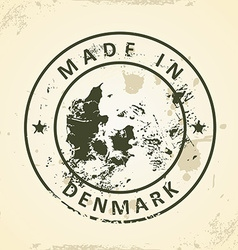 Stamp with map of denmark vector