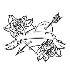 tattoo heart pierced by arrow with ribbon and rose vector image