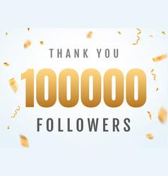 Thank you 100000 followers design template social vector