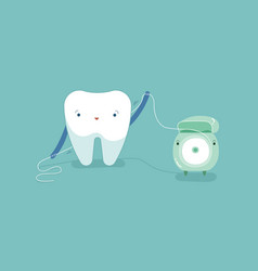 tooth using dental floss for white teeth dental vector image