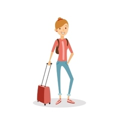 Travel people cartoon Happy girl with hand vector