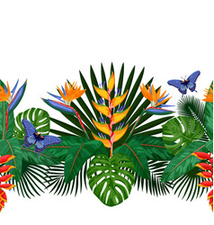 Tropical seamless border vector