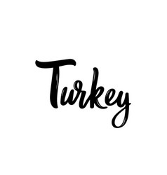 turkey lettering handwritten name of the country vector image