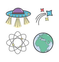 Ufos gestationary orbital shooting star and vector