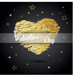 Valentine heart created from golden lines and vector
