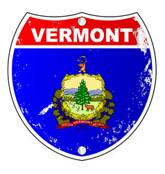 Vermont flag icons as interstate sign vector