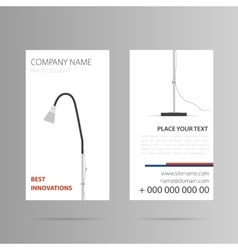 Vertical business card with floor lamp vector