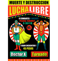 Vintage lucha libre ticket vector