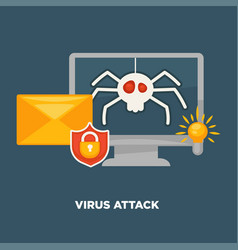 Virus attack on computer in cartoon flat style vector
