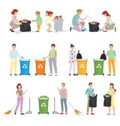 volunteers clean up wastes vector image