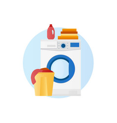 washing machine with basket linen and detergent vector image