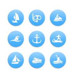 Water sports icons diving surfing sailing vector