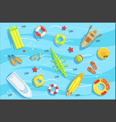 Water toys and other objects from above vector