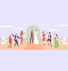 Wedding ceremony on sea beach vector