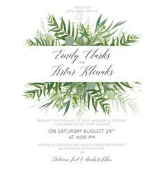 Wedding invite save date card greenery design vector