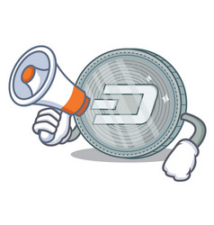 With megaphone dash coin character cartoon vector