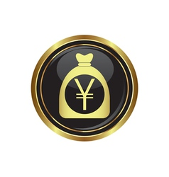 yen in bag icon button gold copy vector image