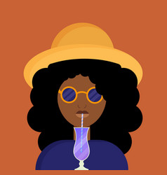 young african american woman drinks cocktail vector image