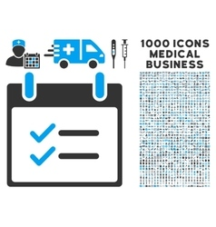 Check Items Calendar Day Icon With 1000 Medical vector image vector image