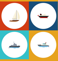 flat icon boat set of cargo sailboat yacht and vector image vector image