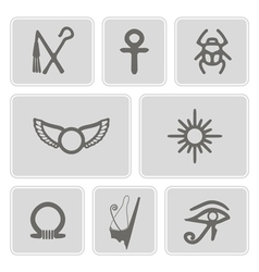 monochrome icons with Egyptian symbols vector image