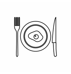 Plate of scrambled eggs a knife and fork icon vector image