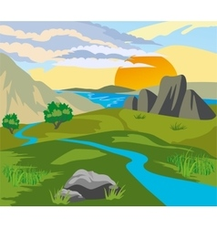 River valley at sunset vector image