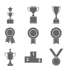 Set of award success and victory icons with vector image vector image