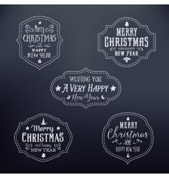 Vintage Typography Christmas Badges Set vector image vector image