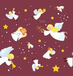 christmas holiday flying angel in the sky with vector image vector image
