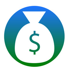 money bag sign white icon in vector image